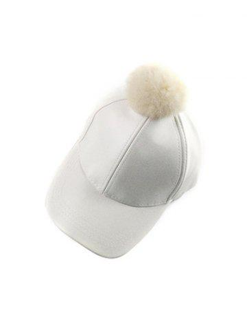 Online Winter Faux Leather Fur Pompom Baseball Hat