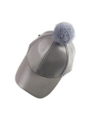 Discount Winter Faux Leather Fur Pompom Baseball Hat