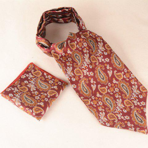 Shops Retro Cashew Floral Print Pocket Square and Cravat CLARET
