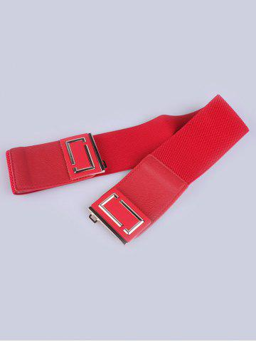 New PU Leather Coat Wear Buckle Elastic Wide Belt - RED  Mobile