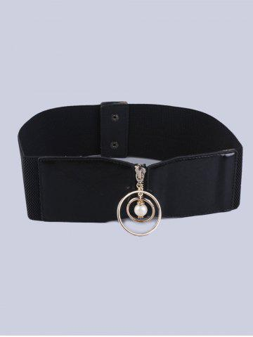 Chic Elastic Faux Suede Belt with Metal Rings