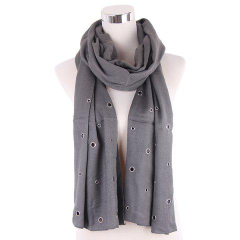 Online Hollow Ring Rivet Knitted Scarf