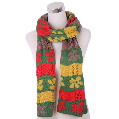 Unique Color Block Flower Oblong Knitted Scarf YELLOW