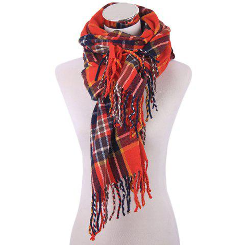 Winter Plaid Pattern Fringe Knitted Scarf - Red - Xl