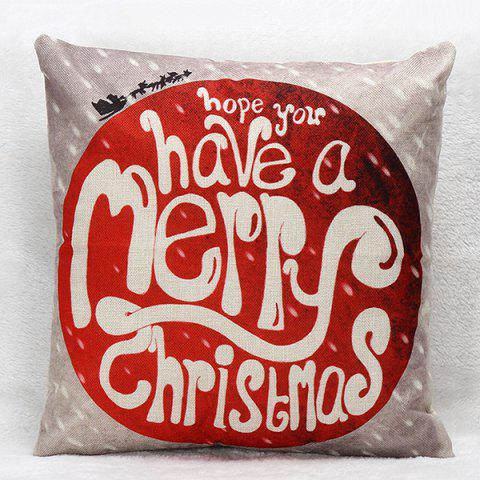Chic Sofa Merry Christmas Pillow Case RED