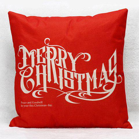 Sofa Merry Christmas Letters Pillow Case - Red - Xl
