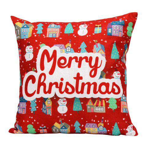 Cheap Merry Christmas Series Printed Pillow Case RED