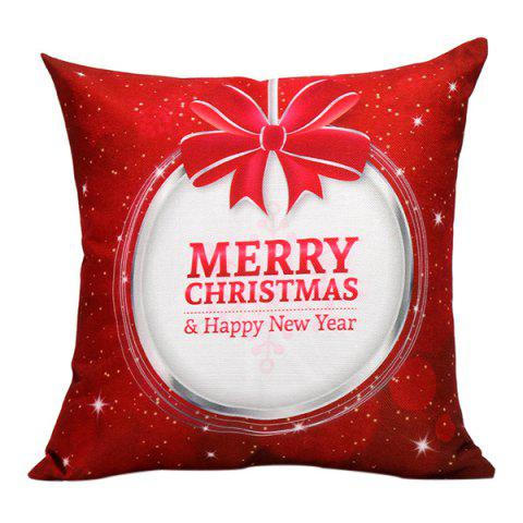 Outfits Merry Christmas Bowknot Printed Pillow Case RED