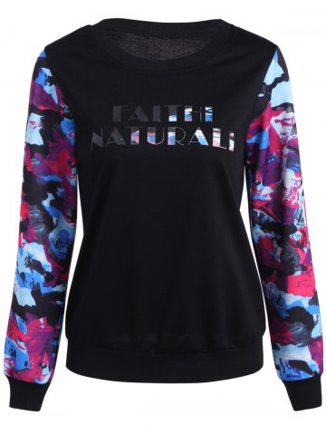 Shops Abstract Color Mixed Letter Print Sweatshirt BLACK 2XL