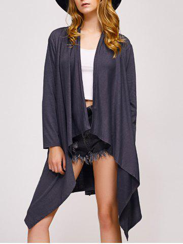 Outfit Collarless Asymmetric Duster Coat DEEP GRAY XL