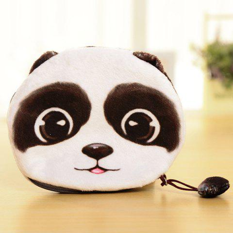 Store Colour Splicing Animal Pattern Zipper Coin Purse - WHITE AND BLACK  Mobile