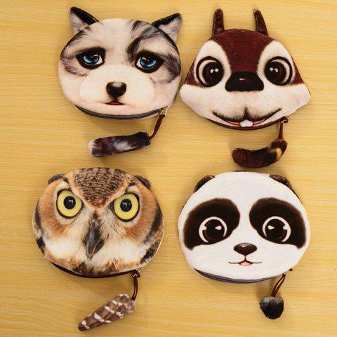Hot Colour Splicing Animal Pattern Zipper Coin Purse - WHITE AND BROWN  Mobile