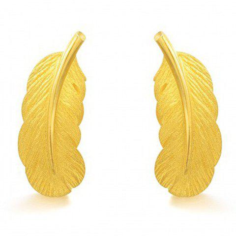 Affordable Feather Drop Earrings GOLDEN