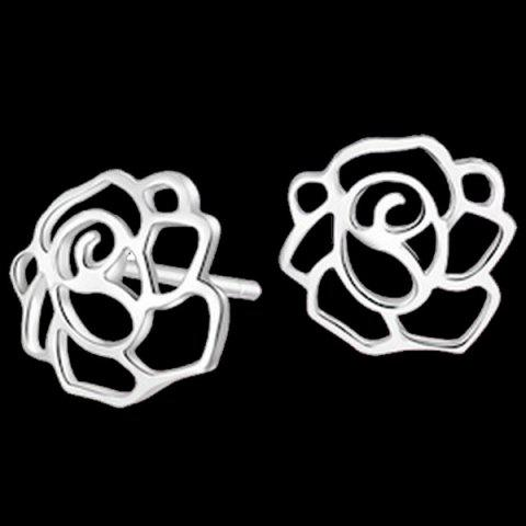 Rose Earrings - SILVER