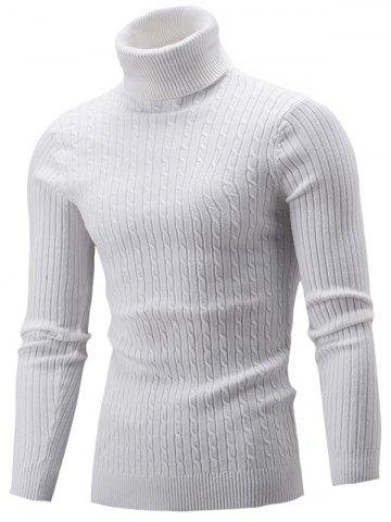 Trendy Slim Fit Cable Knit Turtleneck Sweater WHITE 2XL