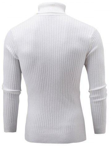 Shops Slim Fit Cable Knit Turtleneck Sweater - WHITE M Mobile