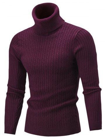 Fancy Slim Fit Cable Knit Turtleneck Sweater - WINE RED XL Mobile