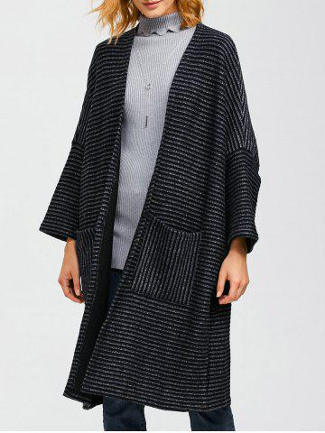 Striped Pocket Loose Coat - CADETBLUE ONE SIZE