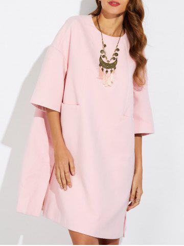 Store Loose Side Slit Woolen Dress PINK XL