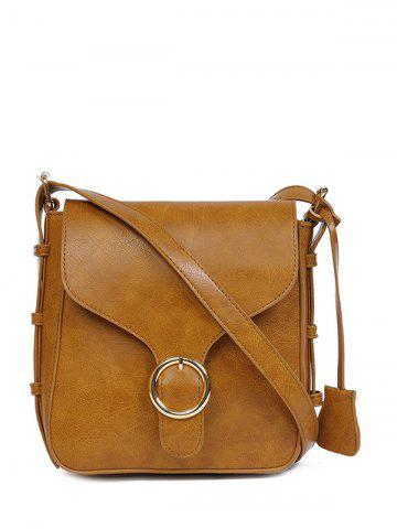 Fancy Vintage PU Leather Buckle Cross Body Bag BROWN