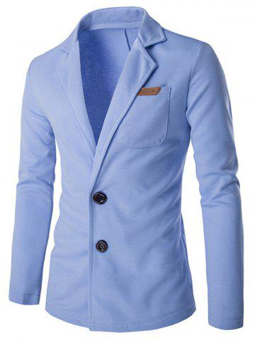 Chic Lapel Single Breasted PU Pocket Jacket LIGHT BLUE 2XL