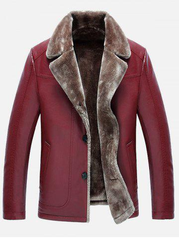 Affordable Fur Lapel Single Breasted PU Leather Jacket