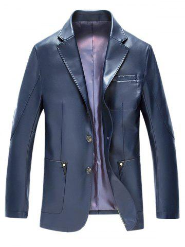 Fancy Lapel Button Up Pocket PU Leather Jacket