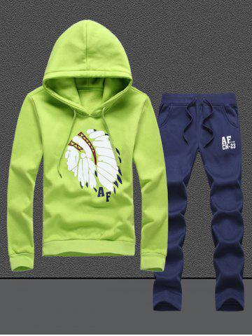 Native Printed Pullover Hoodie Twinset - Green - M
