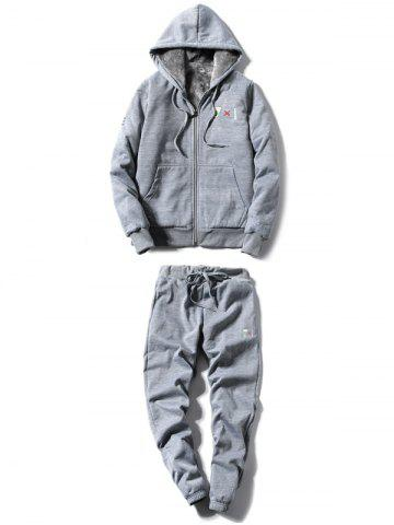 Latest Zip Up Embroidery Hoodie Twinset GRAY 3XL