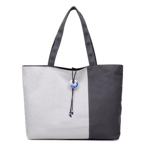 Trendy Pendant Canvas Color Block Shoulder Bag