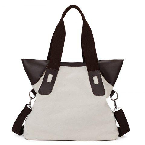 Shop PU Leather Panel Canvas Shoulder Bag WHITE