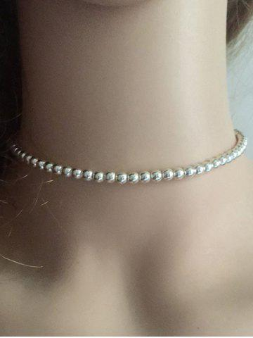 Vintage Beaded Necklace - SILVER