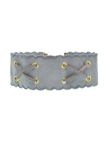 Outfit Faux Leather Velvet Choker - GRAY  Mobile