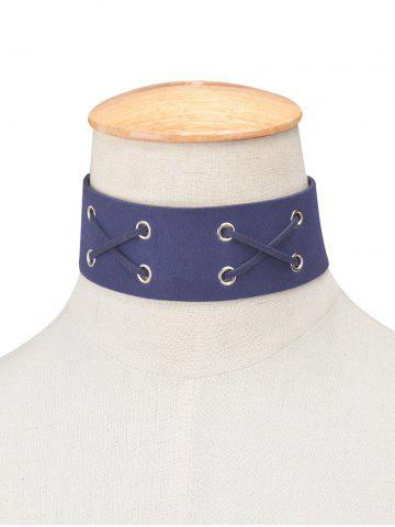 Online Faux Leather Velvet Lacing Choker CADETBLUE