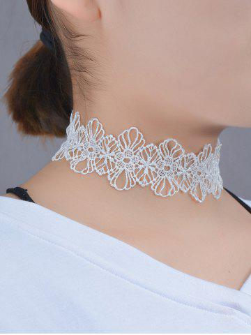 Hollow Out Lace Floral Choker - WHITE