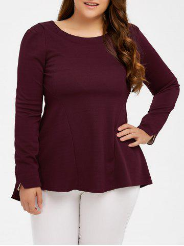 Fancy Long Sleeve Skirted Top WINE RED 5XL