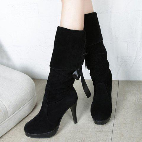 Latest Cone Heel Suede Knee High Boots