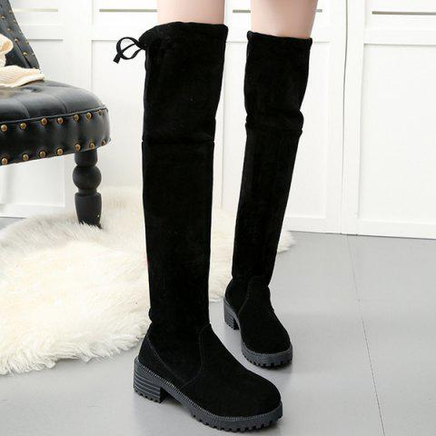 Affordable Low Heel Suede Over The Knee Boots