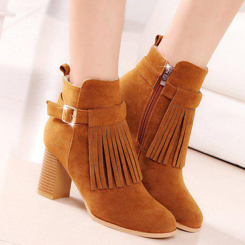 Shops Fringe Buckle Strap Chunky Heel Boots BROWN 39