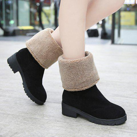 Outfit Fuzzy Fold Down Chunky Heel Mid Calf Boots