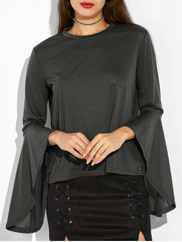 Chic Bell Sleeve Fitted T-Shirt BLACK GREY XL