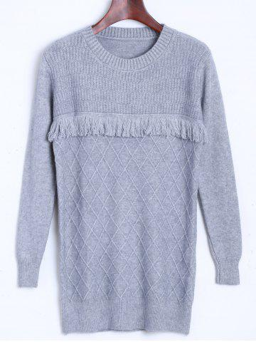 Diamond Pattern Tassel Longline Sweater - Gray - One Size