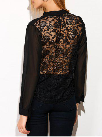 Hot See Through Lace Back Spliced Blouse BLACK XL