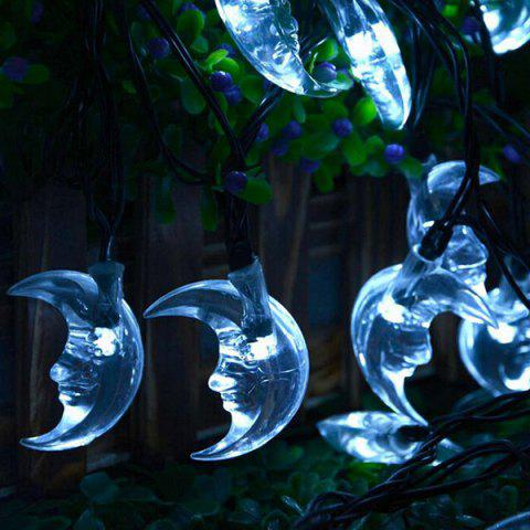 Chic Christmas Decoration Supplies 4.8M Solar Power Moon LED String Light WHITE