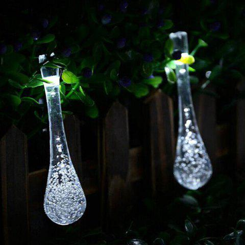 Online Christmas Supplies 4.8M Solar Power Waterdrop LED String Light Decoration - WHITE  Mobile