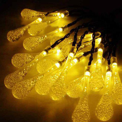 Christmas Supplies 4.8M Solar Power Waterdrop LED String Light Decoration - Warm White Light