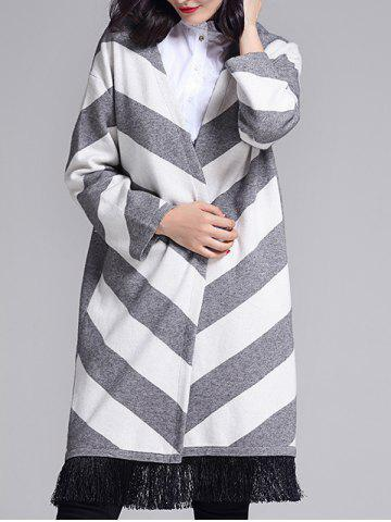 Latest Striped Graphic Tassels Embellished Longline Cardigan
