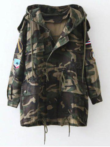 Unique Embroidered Patched Hooded  Camo Utility Coat ARMY GREEN XL