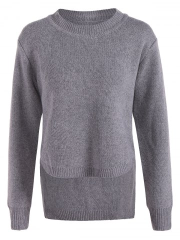 Irregular Crew Neck Sweater - GRAY ONE SIZE(FIT SIZE XS TO M)
