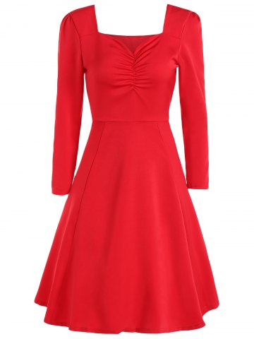 Discount Sweetheart Neck Long Sleeve Swing Flare Dress